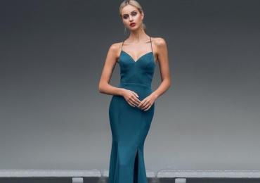 Bariano Purity Bustier Satin Gown