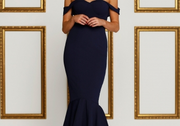 Alamour the Label navy off-the-shoulder gown