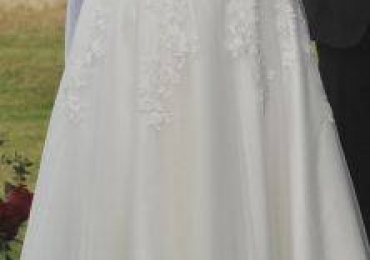 Tea Length, 3/4 sleeve Wedding Dress